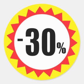 30 pour cent de vente de remise de jaune blanc sticker rond