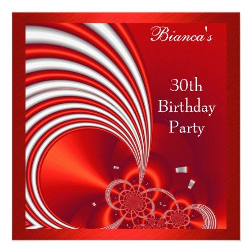 30ème abrégé sur rouge blanc de fête d'anniversair invitations personnalisables