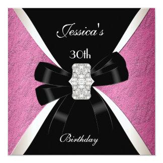 30ème anniversaire de blanc noir rose carton d'invitation  13,33 cm
