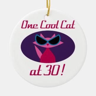 30ème anniversaire de chat frais ornement rond en céramique