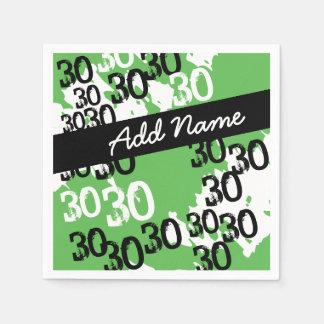 30ème anniversaire personnalisé de vert blanc noir serviettes en papier
