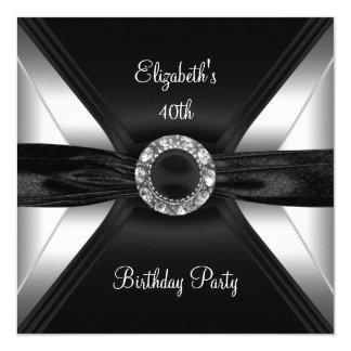 30ème Argent de blanc de noir d'image de diamant Carton D'invitation 13,33 Cm
