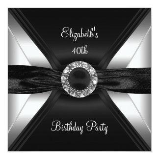 30ème Argent de blanc de noir d'image de diamant Faire-part Personnalisé