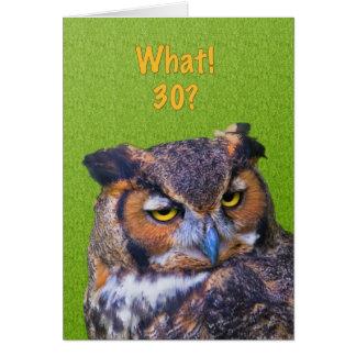 30ème Carte d'anniversaire avec le grand oiseau de