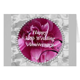 30ème Carte d'anniversaire de mariage, perles et