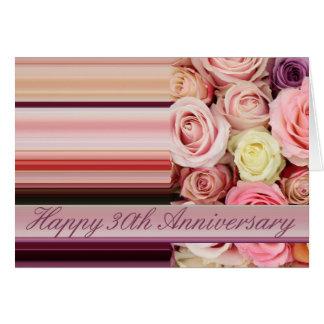 30ème Carte d'anniversaire de mariage - rayure en
