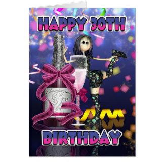 30ème Carte d'anniversaire - poupée de chiffon de