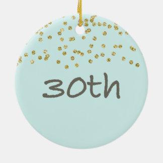 30ème Confettis d'anniversaire Ornement Rond En Céramique