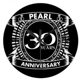 30ème crête de perle d'anniversaire de mariage grande horloge ronde