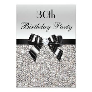 30ème Diamant argenté d'arc de noir de paillette Carton D'invitation 12,7 Cm X 17,78 Cm
