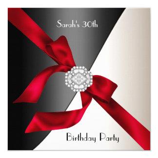 30ème Diamant noir blanc rouge de fête Carton D'invitation 13,33 Cm
