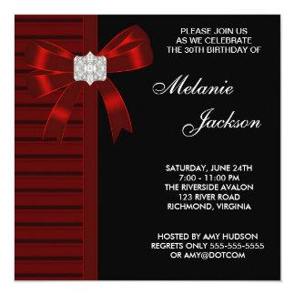 30ème fête d'anniversaire de la femme rouge noire carton d'invitation  13,33 cm