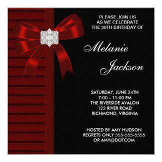 30ème fête d'anniversaire de la femme rouge noire  invitations personnalisables