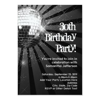 30ème fête d'anniversaire d'étincelle de boule carton d'invitation  12,7 cm x 17,78 cm