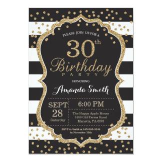 30ème Invitation d'anniversaire. Noir et parties