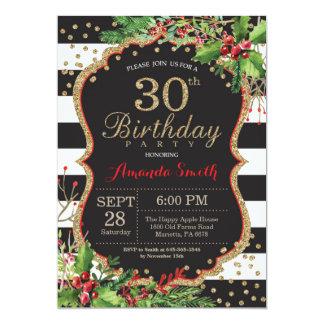 30ème Invitation d'anniversaire. Or noir rouge de