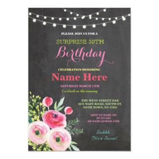 30ème Invitation rose floral de tableau de fête