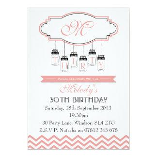 30ème invitation rose vintage d'anniversaire de