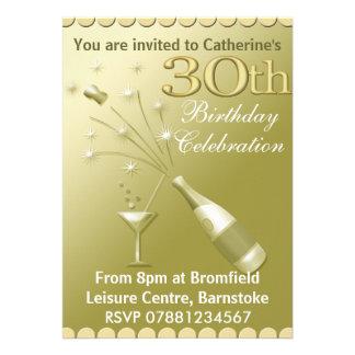 30ème Invitations de fête d anniversaire - or