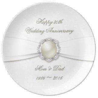 30ème plat de porcelaine d'anniversaire de damassé assiettes en porcelaine