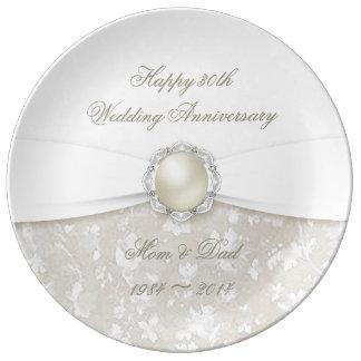 30ème plat de porcelaine d'anniversaire de mariage assiettes en porcelaine