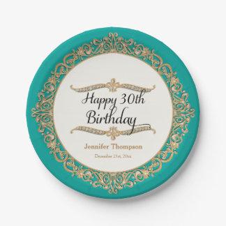 30ème Regard de bijou de célébration de partie de Assiettes En Papier