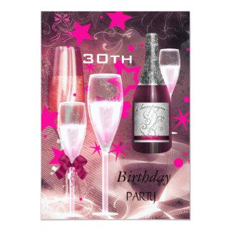 30ème Rose Champagne 30 de fête d'anniversaire Carton D'invitation 12,7 Cm X 17,78 Cm