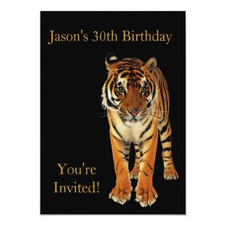 30ème Tigre de fête d'anniversaire sur le noir Carton D'invitation 12,7 Cm X 17,78 Cm