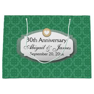 30ème Vert Z08 d'anniversaire de mariage Grand Sac Cadeau