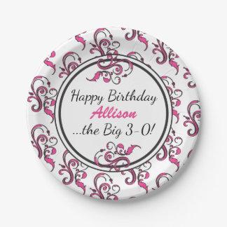 30èmes remous personnalisés de rose d'anniversaire assiettes en papier