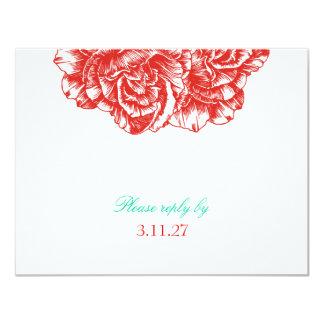 311-Le peluche Fleur - fard à joues et turquoise Carton D'invitation 10,79 Cm X 13,97 Cm
