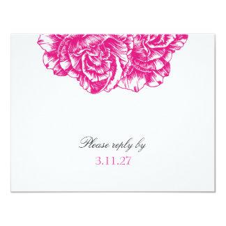 311-Le peluche Fleur - rose indien RSVP noir Carton D'invitation 10,79 Cm X 13,97 Cm