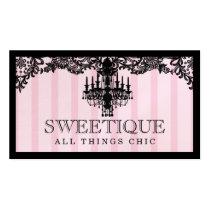 311 rayures roses de Sweetique et lustre de dentel Carte De Visite