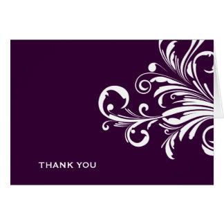 311-Swanky tourbillonne Merci d'aubergine Cartes De Vœux