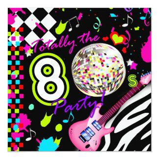 311 totalement les années 80 Party la boule rose Carton D'invitation 13,33 Cm