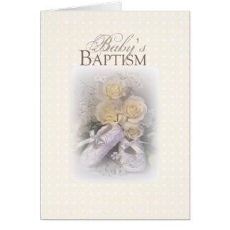3429 roses jaunes de chaussures du baptême du bébé carte de vœux