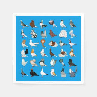 36 races de pigeon serviette en papier