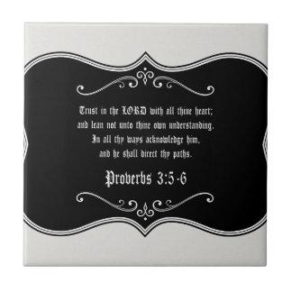 3:5 de proverbes - cadeau chrétien fait sur petit carreau carré
