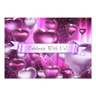 """3.5"""" x 5"""" Pink Hearts Customizable Invitation Invite"""