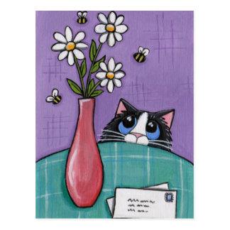 3 abeilles, 3 fleurs, 2 lettres - carte postale de