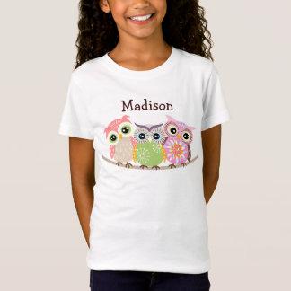 3 bébé mignon et coloré de hiboux - T-shirts de