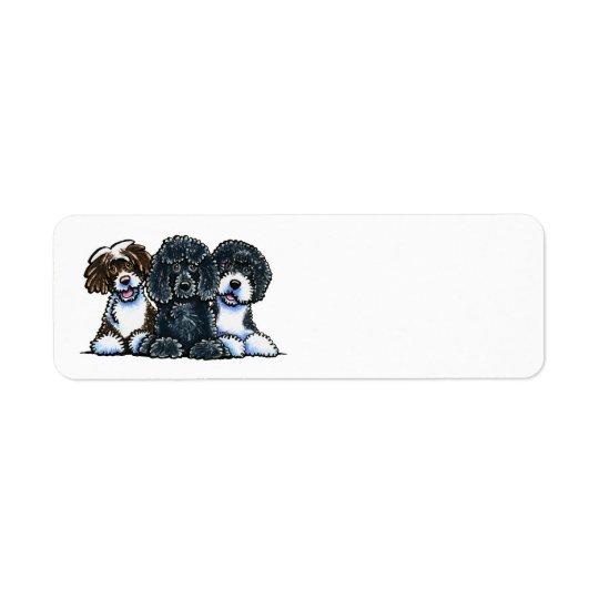 3 chiens d'eau portugais étiquettes d'adresse retour