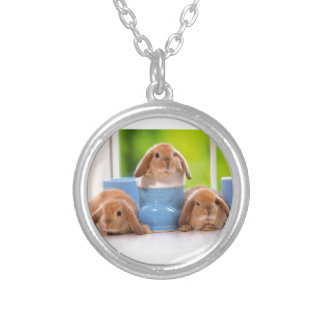 3 lapins pendentif rond