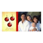 3 ornements rouges photocarte personnalisée