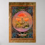 3 pavots de Nouveau d'art dans un cadre cuivreux Posters