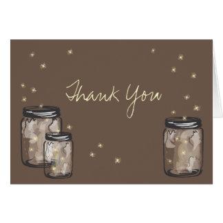 3 pots de maçon remplis de lucioles cartes de vœux