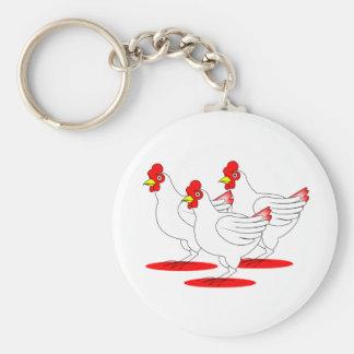3 poules françaises porte-clé rond