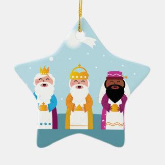 3 rois peints à la main ornement étoile en céramique