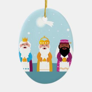 3 rois peints à la main ornement ovale en céramique