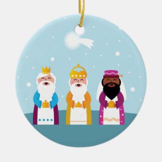 3 rois peints à la main ornement rond en céramique